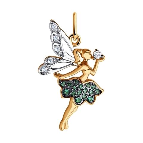 035645  - Золотая подвеска «Фея» с зелеными фианитами
