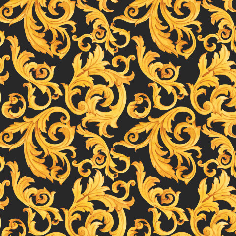 Золотые вензеля (черный фон)