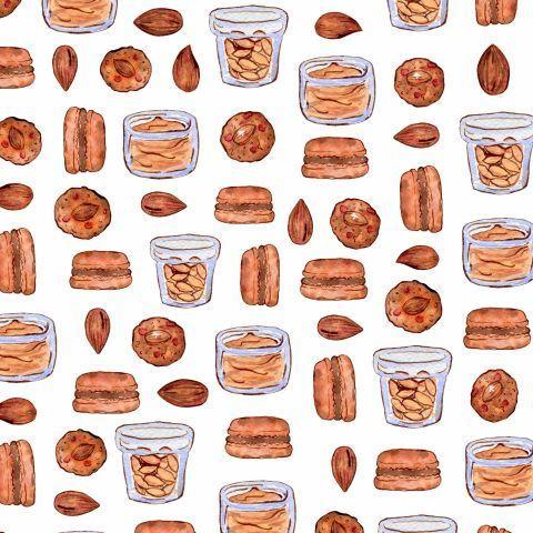 Миндаль, конфеты и печенье макаронс