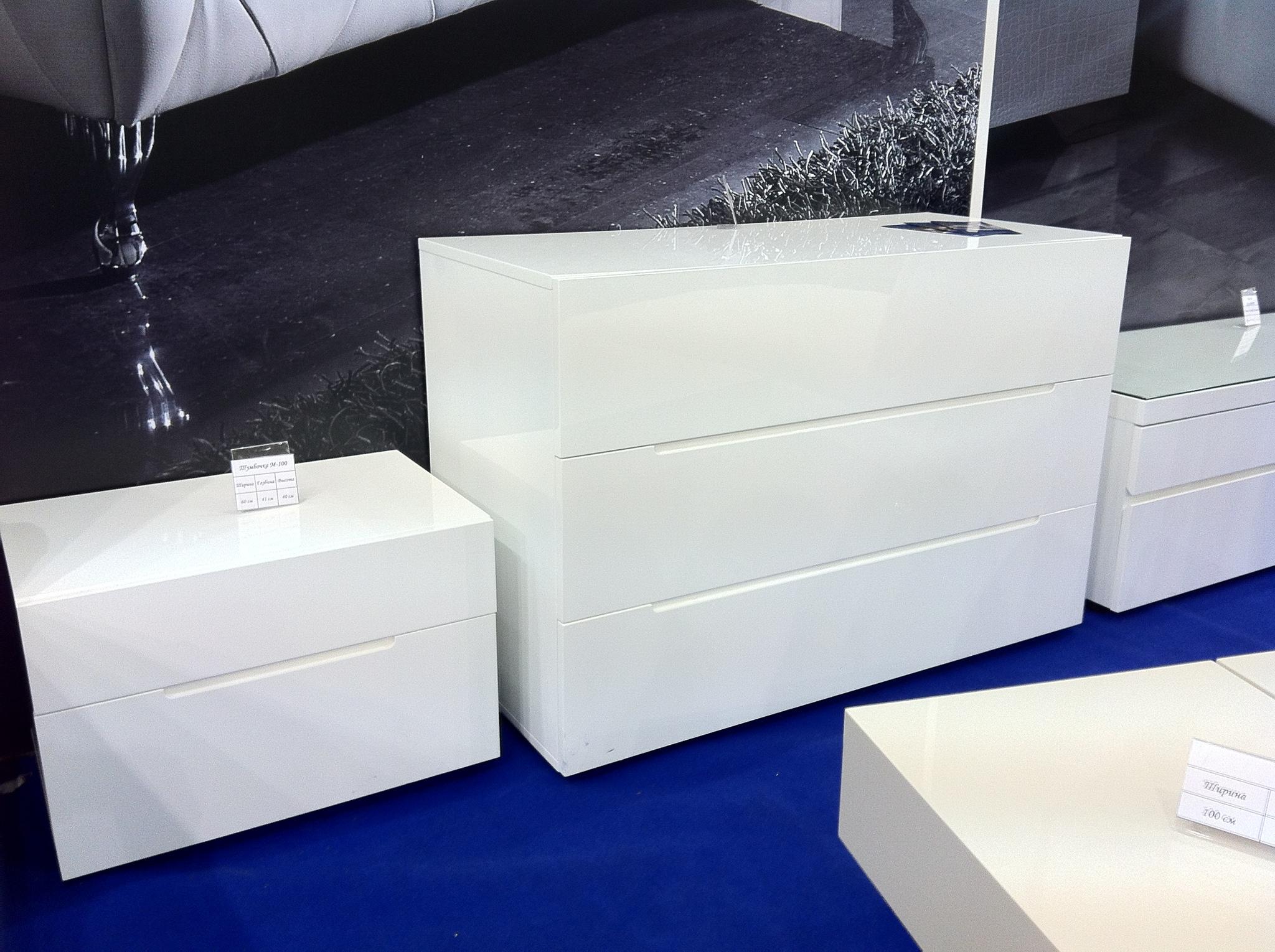 Тумба прикроватная DUPEN (Дюпен) М-100 белая и Комод горизонтальный DUPEN (Дюпен) C-100 белый