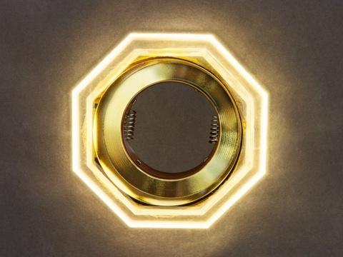 Светильник встраеваемый 8031-3W-GO Золото+Диодная подсветка