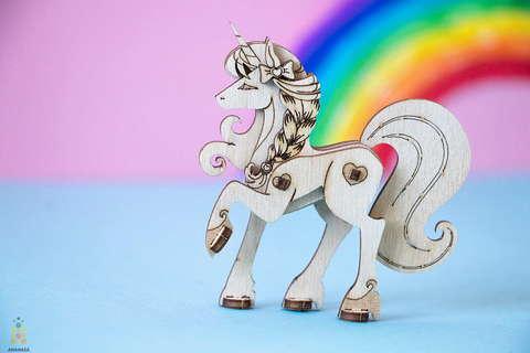 Единорог UNIT (UNIWOOD) - Деревянный конструктор, 3D пазл, сборная модель