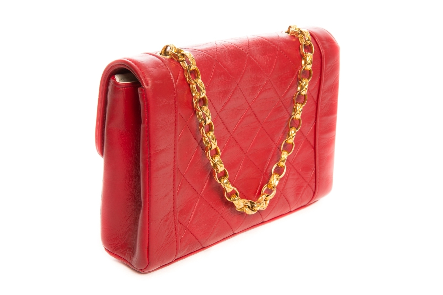 Red leather Chanel flap bag