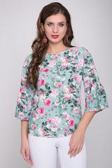 <p>Романтическая блузка из штапеля свободного кроя. Рукав 3/4 с воланом. В комплекте с брюками или юбкой позволит Вам создать яркий, незабываемый образ.</p>