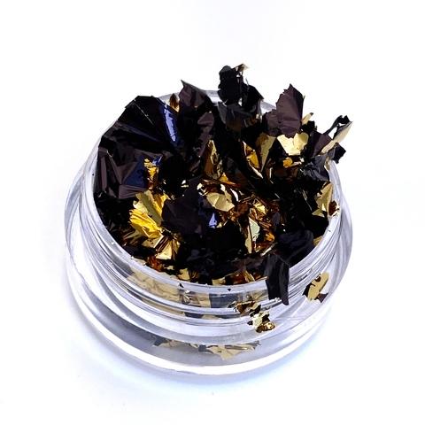 Слюда (фольга поталь) двусторонняя 14*14 см чёрная/золото