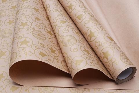Бумага крафт 70г/м2, 70 см x 10 м, Гирлянда, цвет: золотой