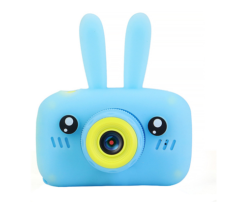 Детский фотоаппарат Fun Kids Camera с силикон чехлом зайчик голубой