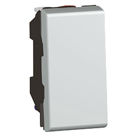 Кнопочный выключатель 1 модуль - 6 A. Цвет Алюминий. Legrand Mosaic (Легранд Мозаик). 079230