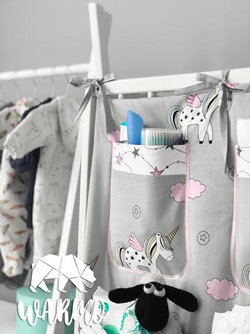 органайзер на дитяче ліжечко з сірими єдинорогами фото