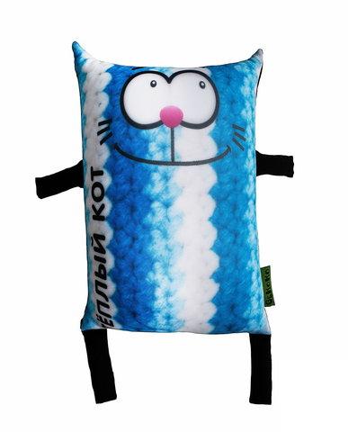 Подушка-игрушка антистресс «Теплый кот», голубой