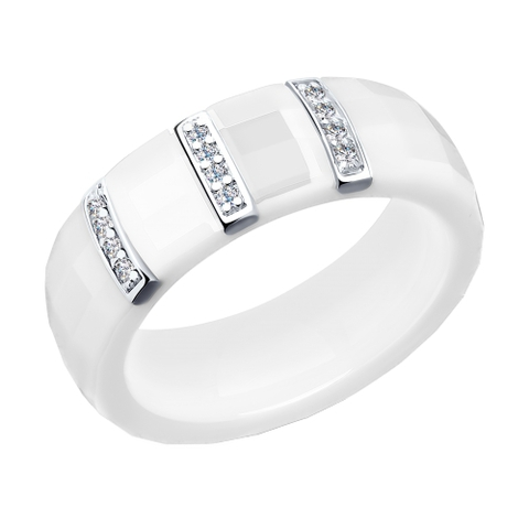 94011609- Кольцо из белой керамики со вставкой из серебра