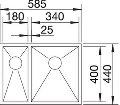 Мойка Blanco Zerox 340/180-U (чаша справа) схема