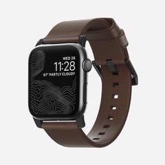 Ремешок Nomad Modern Strap для Apple Watch 44mm/42mm кожа, темно-коричневый, черный