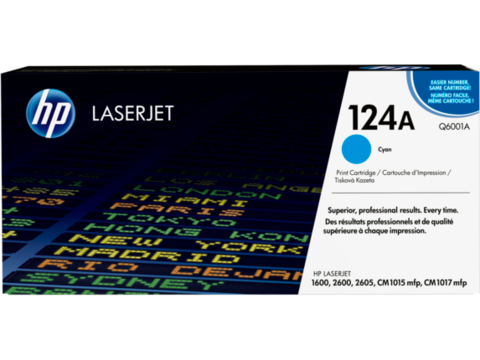 Оригинальный картридж Q6001A (№124A), голубой