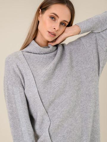 Женское платье светло-серого цвета из шерсти и кашемира - фото 5