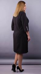 Олена. Комбинированное платье для пышных женщин. Черный+клетка.