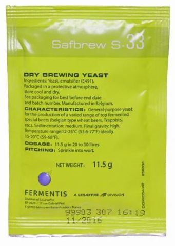 Дрожжи пивные Safbrew S-33 (11,5 гр) Fermentis