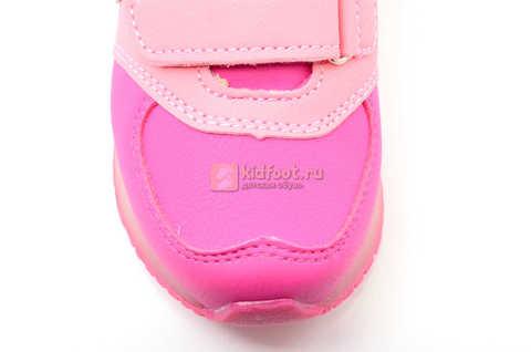 Светящиеся кроссовки Бебексия (BEIBEIXIA) для девочек, цвет розовый, светится вся подошва. Изображение 9 из 10.