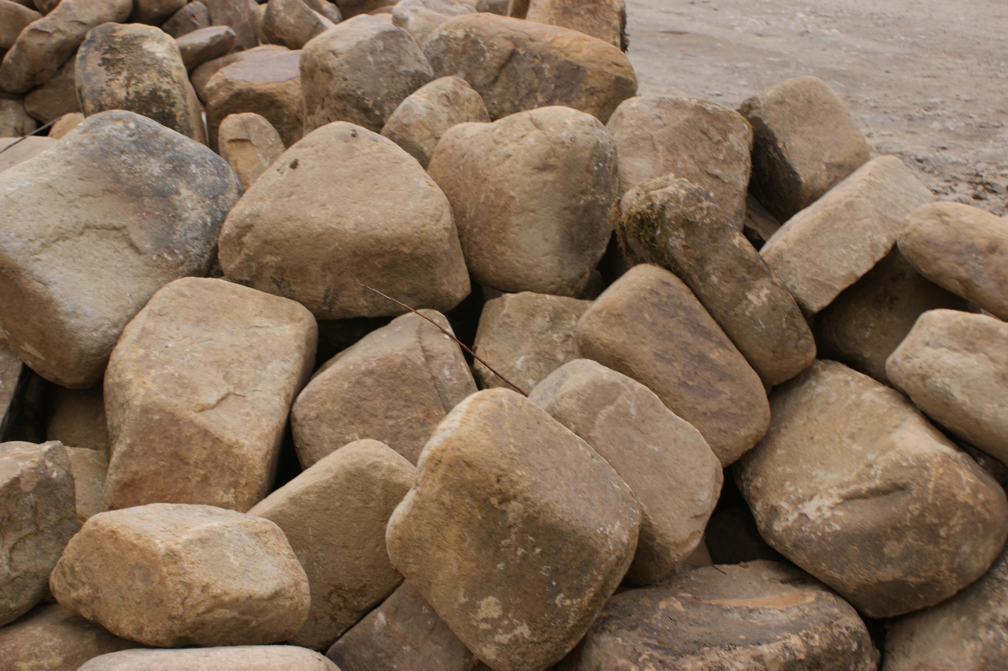 Бутовый камень окатанный Блок Жёлтый образец