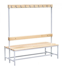 Скамейка для раздевалок двусторонняя с вешалками, длинна 1.0 м