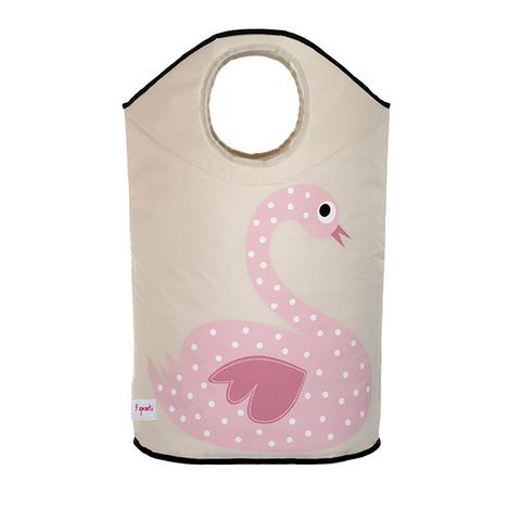 Корзина для белья 3 Sprouts Лебедь (розовый)