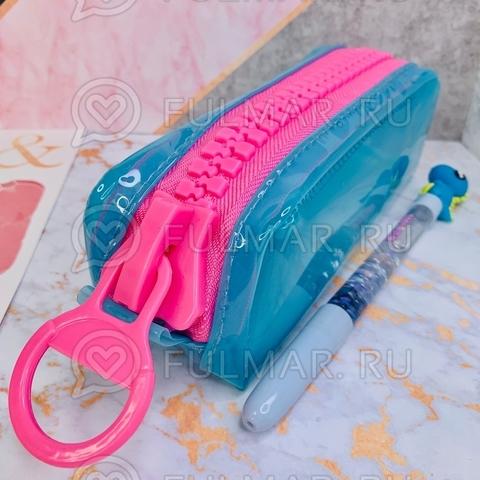 Неоновый прозрачный пенал на молнии-гигант Голубой-Розовый школьный для девочки