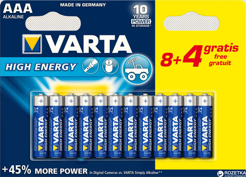 Батарейки Varta High Energy LR03, AAA (8+4/120) BL