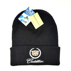 Вязаная шапка с вышитым логотипом Cadillac (Кадиллак)  черная фото 2