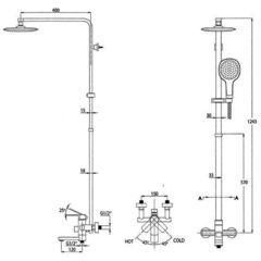 Душевая система KAISER Sonat 34188-1 Bronze  схема