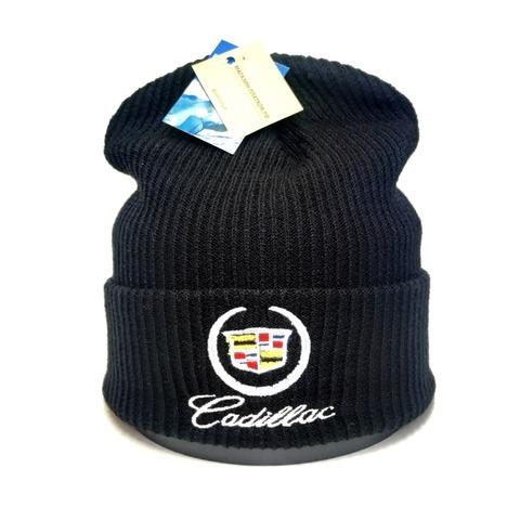 Вязаная шапка с вышитым логотипом Cadillac (Кадиллак)  черная