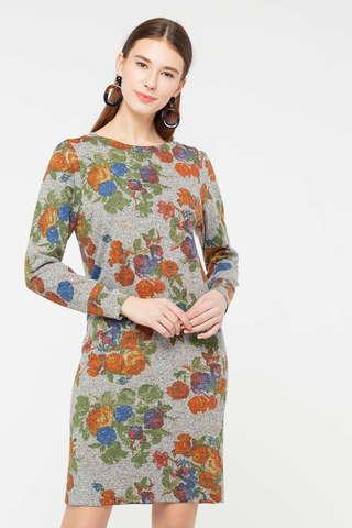 Фото серое платье прямого силуэта с цветочными мотивами - Платье З406-685 (1)