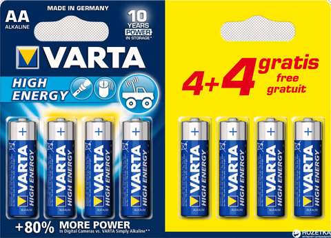 Батарейки Varta High Energy LR6, AA (12/120) BL