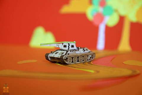 Танк Т-34 UNIT (UNIWOOD) - Деревянный конструктор, 3D пазл, сборная модель