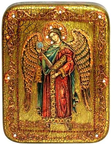 Инкрустированная икона Архангел Гавриил 20х15см на натуральном дереве в подарочной коробке