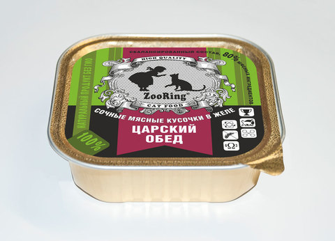 Консервированный полнорационный корм для кошек (кусочки в желе) Царский обед 100г