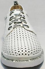 Спортивные кожаные туфли женские в английском стиле GUERO G177-63 White.
