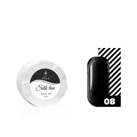 Гель-краска для тонких линий POLE Silk line №08 черная (6 мл.)