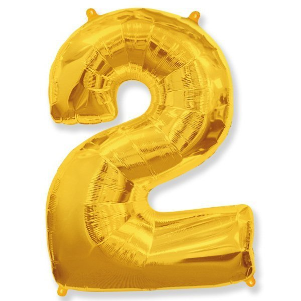Фольгированная цифра 2, золото