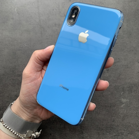 Чехол iPhone XS MAX Glass Silicone Case Logo /blue/
