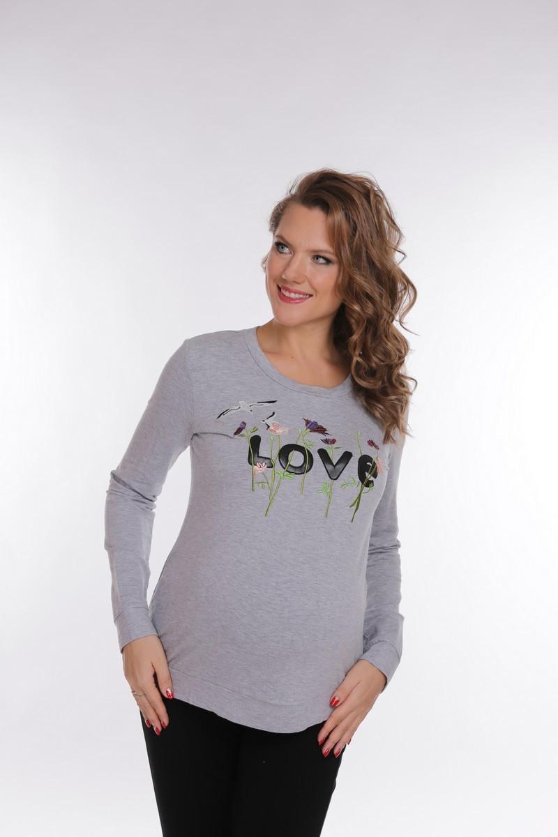 Свитшот для беременных 09074 серый