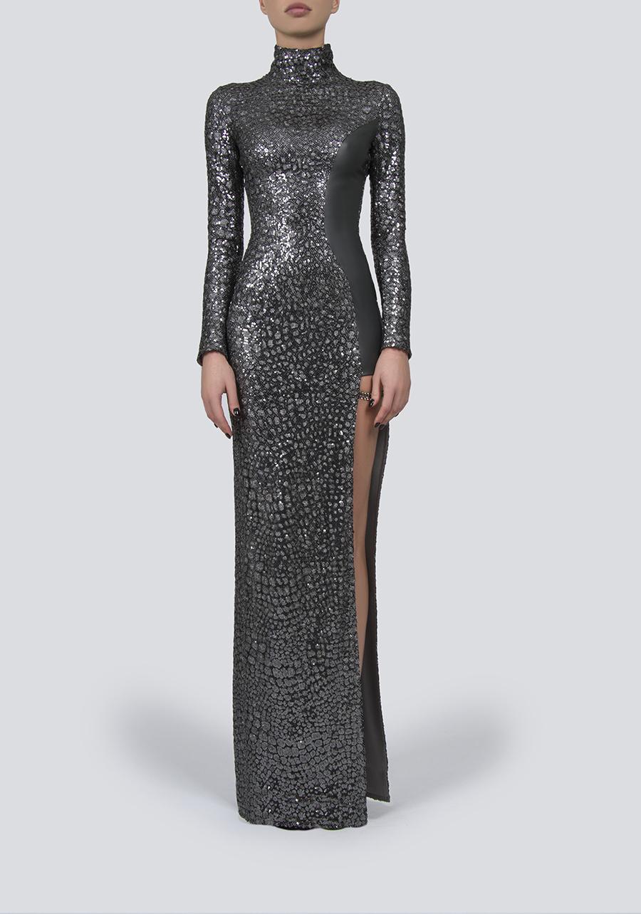 Платье со вставкой из кожи Nappa
