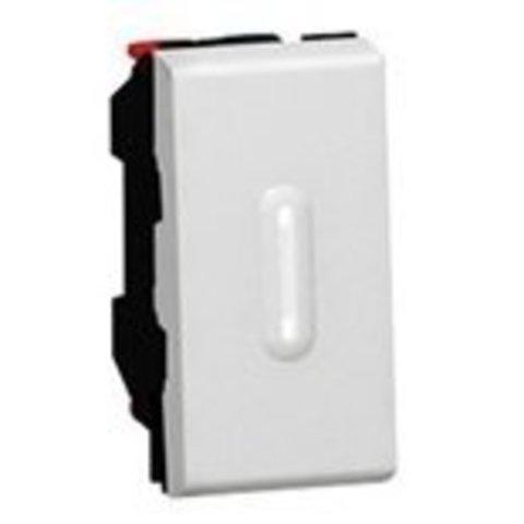 Кнопочный выключатель перекидной 1 модуль - со светодиодной подсветкой - 6 A. Цвет Алюминий. Legrand Mosaic (Легранд Мозаик). 079232