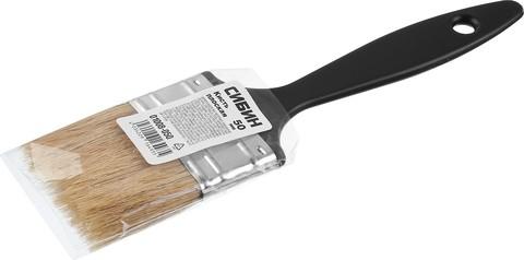 Кисть плоская СИБИН, пластиковая ручка, светлая смешанная щетина, 50мм