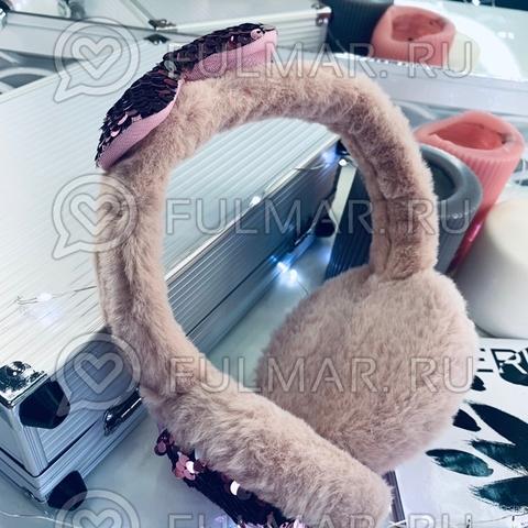 Ободок на уши Плюшевый зимний складной детский с бантом и двусторонними пайетками (цвет: Пепельный розовый)