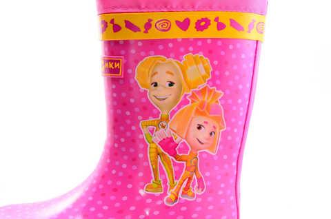 Резиновые сапоги для девочек на текстильной подкладке Фиксики, цвет фуксия. Изображение 8 из 10.