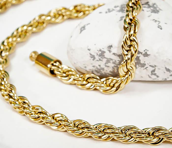 PM265-2 Мужская крученая цепочка из стали золотистого цвета (65 см) фото 04