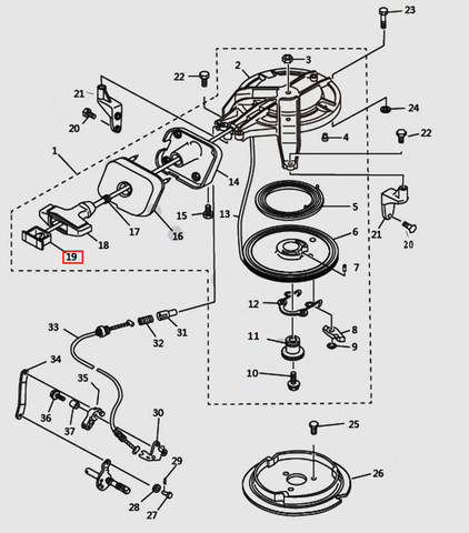 Заглушка ручки стартера для лодочного мотора T9.8 Sea-PRO (7-19)