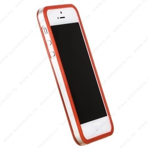 Бампер GRIFFIN для iPhone SE/ 5s/ 5C/ 5 красный с прозрачной полосой