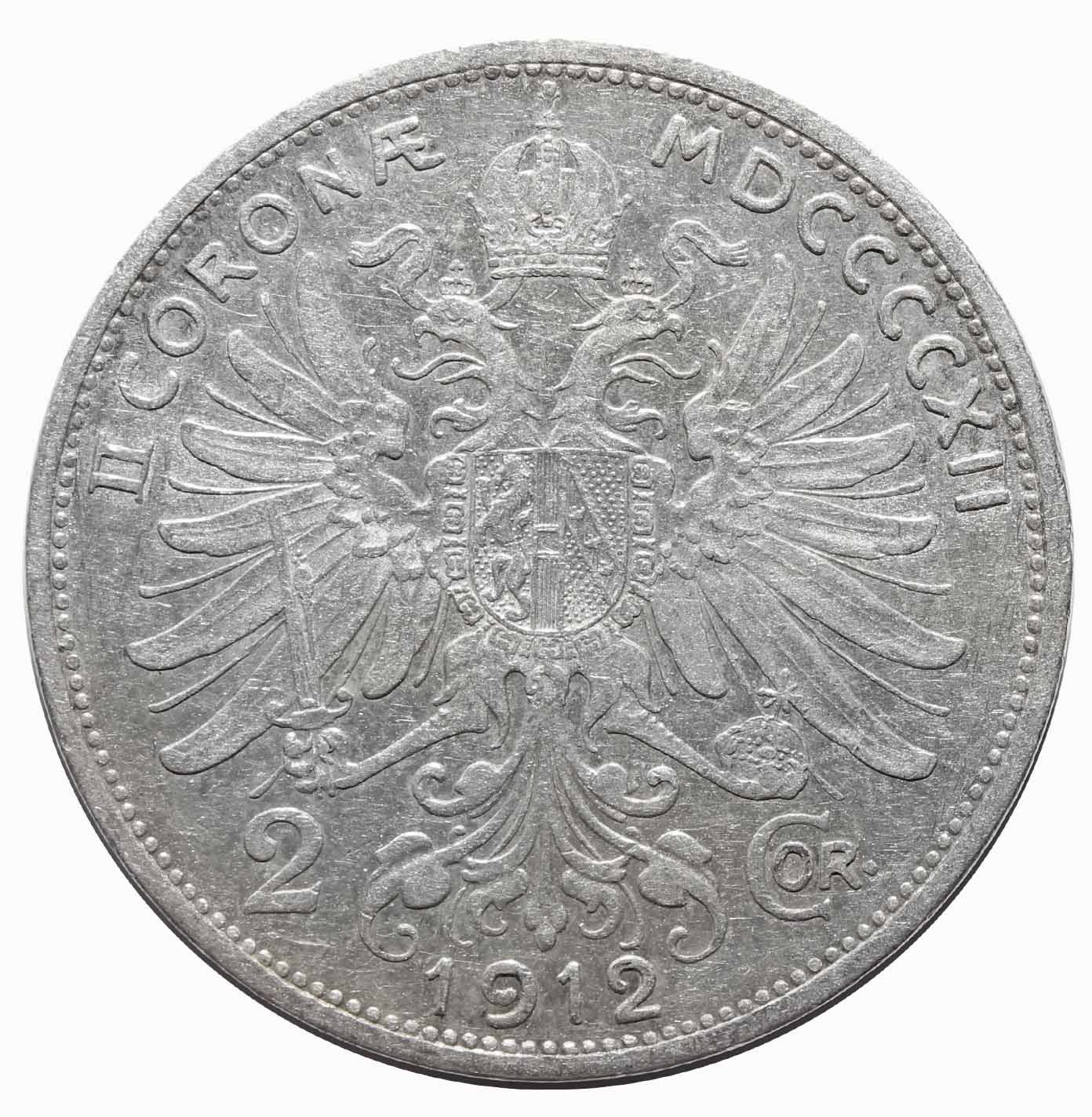 2 кроны 1912. Австрия XF. Серебро