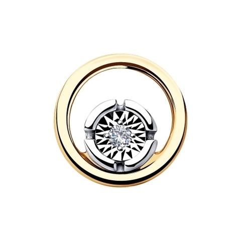 1030747 - Подвеска из комбинированного золота с бриллиантом